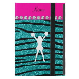 Name cheerleader turquoise glitter zebra stripes iPad mini cover