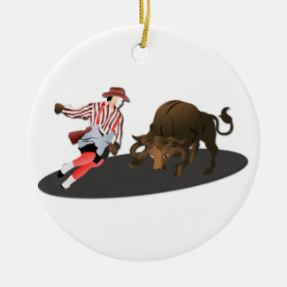 NAME: Clown and Bull 1-No-Text Ceramic Ornament