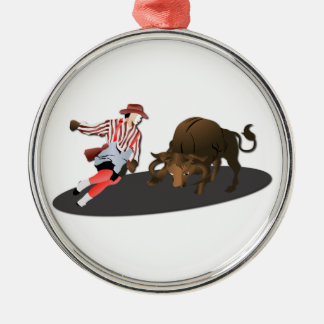 NAME: Clown and Bull 1-No-Text Metal Ornament