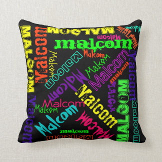 Name Collage Pillow Bright Neon Electric Colors