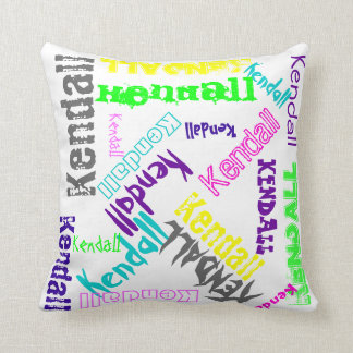 Name Collage Pillow in Bright Electric Colors