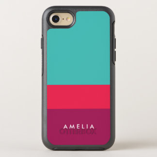 Name Color Block Turquoise Pink Purple OtterBox Symmetry iPhone 7 Case