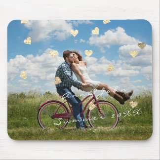 Name Couple Photo Golden Confetti Hearts Gold Mouse Pad