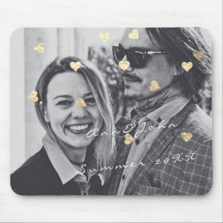 Name Couple Photo Travel Gift Confetti Hearts Gold Mouse Pad