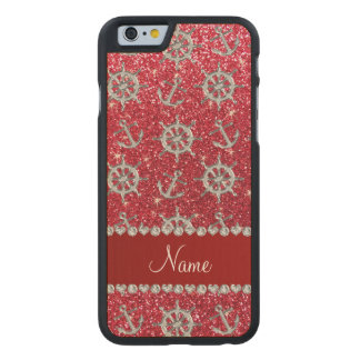 Name crimson red glitter silver anchor ships wheel carved® maple iPhone 6 slim case