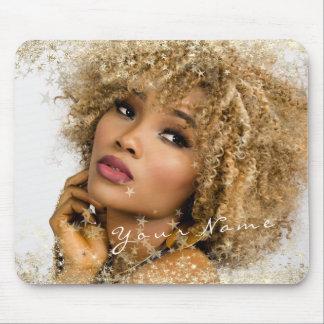 Name Custom Photo Golden Golden Stars Framed Mouse Pad