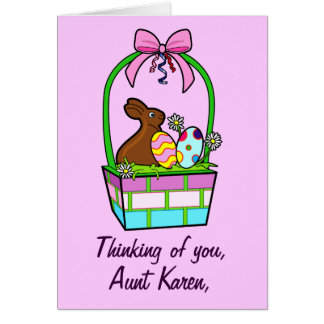 Name Customizable Happy Easter Eggs, Bunny and Bow Card