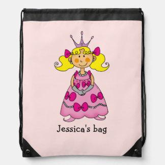 Name customized little princess (blonde hair) drawstring backpack