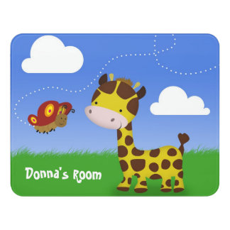 Name Cute Giraffe and Butterfly Kids Room Sign
