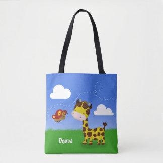 Name Cute Giraffe and Butterfly - Tote Bag