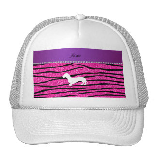 Name dachshund neon hot pink glitter zebra stripes mesh hat