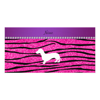Name dachshund neon hot pink glitter zebra stripes photo card template