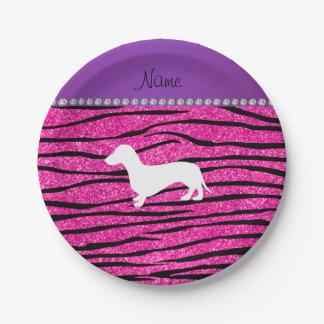 Name dachshund neon hot pink glitter zebra stripes 7 inch paper plate