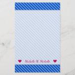 [ Thumbnail: Name + Dark Blue and Lighter Blue Stripes Pattern Stationery ]