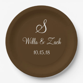 Name Date Monogram Autumn Fall Wedding Brown White Paper Plate