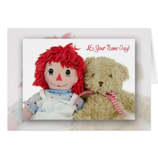Name Day-old Rag Doll With Teddy Bear Card
