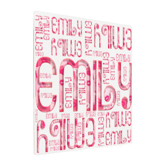 Name Emily Cute Pink Love Hearts Kiss Typography Metal Print