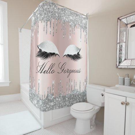 Name Eyelashes Makeup Silver Rose Girly Drips Shower Curtain