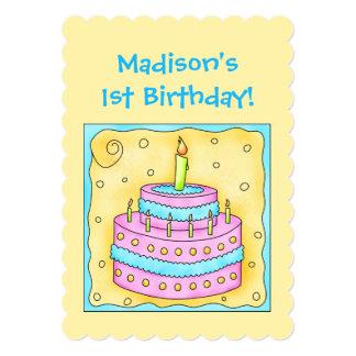 "Name First Birthday Cake Art Party Invitation 5"" X 7"" Invitation Card"