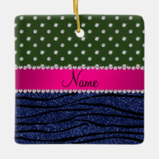 Name forest green diamonds zebra navy blue glitter ceramic ornament
