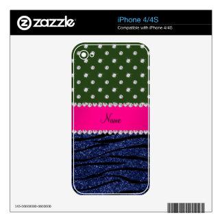 Name forest green diamonds zebra navy blue glitter iPhone 4 decals
