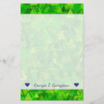"""[ Thumbnail: Name + """"Forest"""" of Green Triangle Shapes Pattern Stationery ]"""