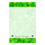 "[ Thumbnail: Name + ""Forest"" of Green Triangle Shapes Pattern Stationery ]"
