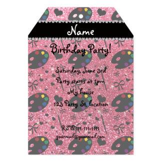 name fuchsia pink glitter painter palette brushes card