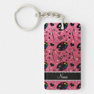 name fuchsia pink glitter painter palette brushes Single-Sided rectangular acrylic keychain