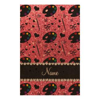 name fuchsia pink glitter painter palette brushes cork paper prints