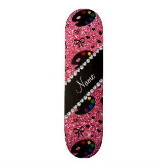 name fuchsia pink glitter painter palette brushes skate decks