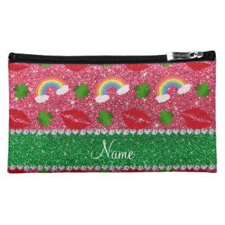 Name fuchsia pink glitter shamrocks rainbows kiss makeup bags