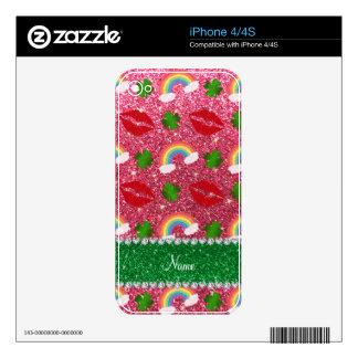 Name fuchsia pink glitter shamrocks rainbows kiss iPhone 4 skins