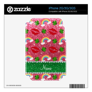 Name fuchsia pink glitter shamrocks rainbows kiss iPhone 2G decal