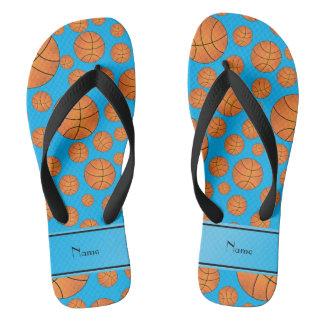 Name fun sky blue basketballs sky blue stripe flip flops