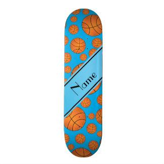 Name fun sky blue basketballs sky blue stripe skate board