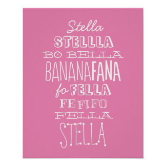 Name Game Silly Song Custom Childrens Art, PINK Poster