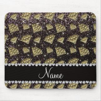 Name gold diamond black glitter mouse pad