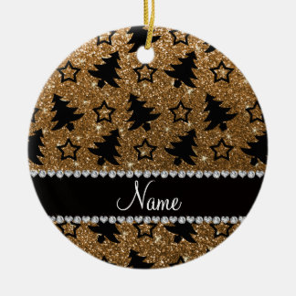 Name gold glitter christmas trees stars Double-Sided ceramic round christmas ornament