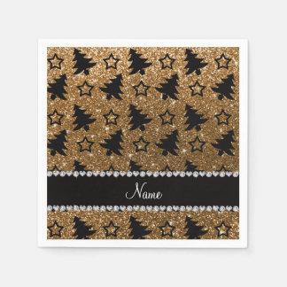 Name gold glitter christmas trees stars paper napkins