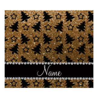 Name gold glitter christmas trees stars posters