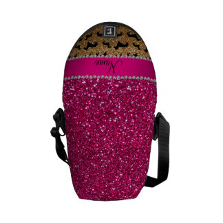 Name gold glitter dachshunds pink glitter courier bags