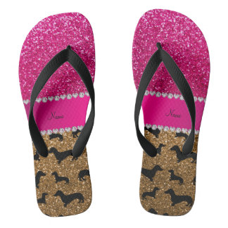 Name gold glitter dachshunds pink glitter flip flops