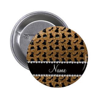 Name gold glitter high heels dress purses pin