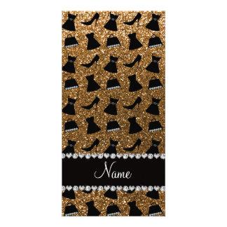 Name gold glitter high heels dress purses photo card