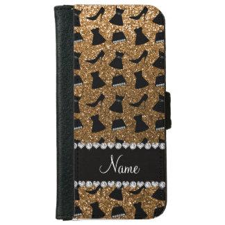 Name gold glitter high heels dress purses iPhone 6 wallet case