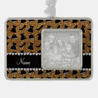 Name gold glitter high heels dress purses silver plated framed ornament