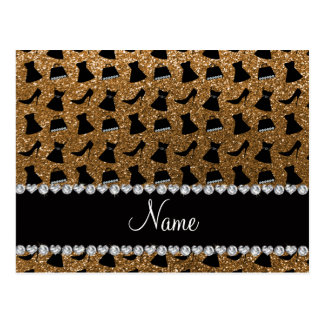 Name gold glitter high heels dress purses postcard