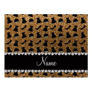 Name gold glitter high heels dress purses postcard