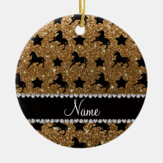 Name gold glitter horses stars ceramic ornament